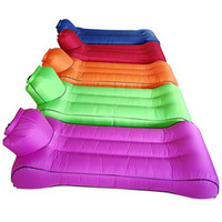 Wholesale inflatable car air mattress resale online - Lazy Sofa Air Mattress Portable Inflatable Cushion Outdoor Camping Moisture Proof Mat Pad Light Colorful Eco Friendly jl O1