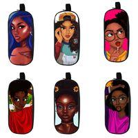Wholesale kids cartoon pencil case resale online - Cartoon Student Pencil Case Design Kids Big Capacity Afro Cartoon Girls Stationery Organizer Kids Wear Resistant Zipper Pencil Bag
