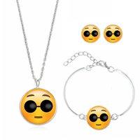 ingrosso chiodi qq-QQ Emoji espressione tempo collana orecchino braccialetto gioielli vestito