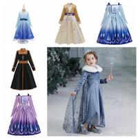 robes de noël fantaisie filles achat en gros de-Enfants Snow Queen Cosplay Costume de princesse pour fille jupe pompon costume d'Halloween Party de Noël Robes d'hiver pour enfants