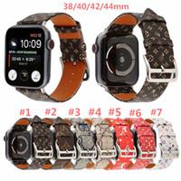 Wholesale red watchband resale online - For Apple Watch Band mm mm Branding Genuine Leather Bracelet Replacement Designer Premium Monogram Watchbands Strap Accessories