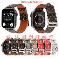 watchbands apple achat en gros de-Pour Apple Watch Band 38 / 40mm 42 / 44mm Marque En Cuir Véritable Bracelet Remplacement Designer Premium Bracelet de Monogramme Bracelets Accessoires