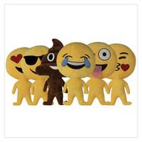 boneca de coração de pelúcia venda por atacado-Emoji Boneca Emoticon Travesseiro Almofada Macia Almofadas De Pelúcia De Pelúcia Recheado Boneca de Brinquedo de Presente Coração Olhos Decoração de Casa Engraçado