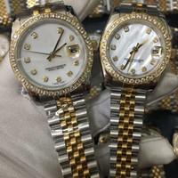 ingrosso orologi di diamanti perle-Orologio da uomo di lusso Cinturino in acciaio inossidabile oro 18 carati Orologi da uomo Cinturini in madreperla Lunetta di diamanti Orologi da polso meccanici automatici