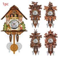relojes decorativos para paredes al por mayor-Vintage Bird Inicio cuco péndulo del reloj de pared de madera decorativa de la sala Colgando 115X225X50mm reloj de pared de la sala de estar