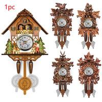 vintage moderne wanduhr groihandel-Vintage Zuhause-Vogel Kuckuck Pendel Wanduhr Holz Dekorative Wohnzimmer-hängende 115X225X50mm Wanduhr Wohnzimmer