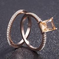 Wholesale women wedding rings online - Luxury Stone Gold Plated Ring Women Girl Elegant Women Jewelry K Rose Gold Plated Wedding Crystal Ring Size US MMA1243