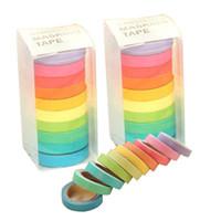 bedruckte klebebänder großhandel-Regenbogen Einfarbig Japanischen Masking Washi Klebrigen Papierband Klebstoff Druck DIY Scrapbooking 2016 Deco Washi Klebeband