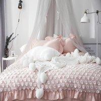 dantel yorgan örtüsü toptan satış-Kore Stili Prenses Stili Yatak Seti% 100 Pamuk Beyaz / Comforter olmadan Gri / Pembe Dantel Jakarlı Nevresim Seti Yastık