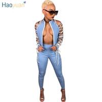 сексуальный костюм из двух частей оптовых-Haoyuan бинты Sexy 2 Two Piece Set женщин Одежда Узелок с длинным рукавом куртки Топы + брюки костюм-футляр Club нарядах соответствующие наборы