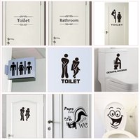 Wholesale door sticker mural resale online - WC Toilet Entrance Sign Door Stickers For Public Place Home Decoration Creative Pattern Wall Decals Diy Funny Vinyl Mural