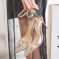 zapatos de vestir de cuña de plata de las mujeres al por mayor-Plata Oro Claro estilete del remache del perno prisionero de los tacones altos inferiores rojos 8cm 10CM los zapatos de punta de marca puntiagudos vestido Mujer Primavera 2019