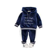 Wholesale davebella baby clothes for sale - Group buy 2019 Autumn Winter Baby Girls Boys Clothing Sets Kids Casual Letter Hooded Thicken Velvet T Shirt Children s Sports Suit Clothes Y190518
