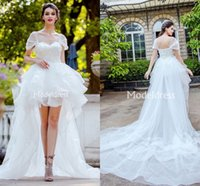 Wholesale high low skirts train for sale - Group buy Stylish Wedding Dresses New High Low Special Design Backless Short Appliques Court Train Bridal Gowns Tiered Illusion Vestidoe De Noiva