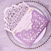 Wholesale invitation envelope fold for sale - Group buy Purple Wedding Invitations Cordially Inviting Glittery Laser Cut Envelope Style Invitation Card for Quinceanera Bridal Shower Sweet Sixteen