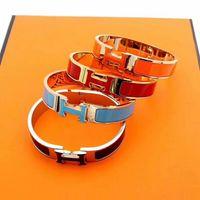Wholesale male female bangle bracelets resale online - Male and female clasp bracelet K rose titanium steel multi color gold enamel bracelet with box