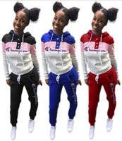 Wholesale outfits sets outwear resale online - Champions women piece set brand gym tracksuit hoodies pants sweatsuit pullover leggings outfits outwear bodysuit fall winter clothing