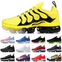 zapatillas grises rojas al por mayor-Nike air max TN Plus Venta al por mayor de zapatillas TN Plus BUMBLEBEE para hombre mujer triple negro blanco Lava Glow rojo gris para hombre zapatillas zapatillas deportivas