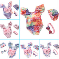 Wholesale bikini stamp resale online - INS Gold Stamping Metmaid Swimwear Ruffle Bow Bikini Swimsuit Headband Hats Swimming Costume Colors Baby One Pieces