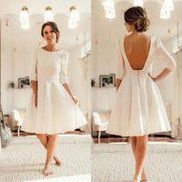 Wholesale knee length wedding dresses resale online - 2020 Country Satin Short Wedding Dresses Open Back Knee Length Bridal Dresses Half Sleeves Wedding Bridal Gowns Robes de mariage BM1505