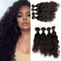 uzun saç demetleri toptan satış-Brezilyalı Bakire Saç 4 Paketler Su Dalga Islak ve Dalgalı Su Örgü İnsan Saç Demetleri Uzun Dayanıklı Zaman FDSHINE