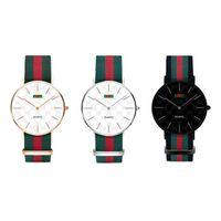 женские наручные часы оптовых-Кварцевые часы с нейлоновым ремешком Повседневные мужчины 40мм Дамы 36мм Черный Комплекс Красочные нейлоновые часы Военные часы