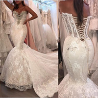 Wholesale mermaid corset satin wedding dresses for sale - Group buy New Luxury Mermaid Wedding Dresses Lace Appliques Sweetheart Chapel Train Sleeveless Crystal Corset Back Wedding Dress Formal Bridal Gowns
