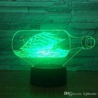 lâmpada de pérola negra venda por atacado-A Pérola Negra Navio Barco 3D Decor Noite Lamp LED Luz Acrílico 7 Cores Mudança cabeceira brinquedo para crianças Xmas presente Drop Shipping