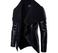 ingrosso bottoni di pelliccia-2019 Moda giacca di pelle Motociclista mens cappotti di eco-pelliccia Zipper pulsante Veste de cuir primavera Outwear uomini cappotti