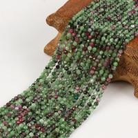 perles rondes de rubis achat en gros de-2mm 3mm Naturel Facette Vert Epidote Rouge Rubis Zoisite Pierre Perle Ronde Perles Lâches Pour Collier Bracelet BRICOLAGE Fabrication de Bijoux