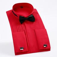 camisas de vestido dos homens algemas francesas venda por atacado-Homens Francês Manguito Smoking Camisa Cor Sólida Asa Dica Gola Camisa Homens Camisas de Vestido de Manga Longa Casamento Formal Noivo