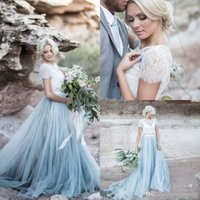 ingrosso gonna blu 12-2017 Fairy Beach Boho Lace Abiti da sposa Collo alto Una linea morbida Tulle Cap maniche Backless Light Blue gonne Plus Size Bohemian Bridal Gown