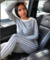 damen sport pullover großhandel-Sportanzug weiblichen Frühling und Herbst 2018 neue Mode Größe Pullover Damen Casual Sportbekleidung zweiteilig S-XL