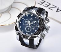 смотреть мужчин оптовых-3D INVICTA роскошный золотой циферблат, мужские спортивные кварцевые часы, хронограф, съемные часы, мужские подарки