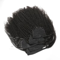 Wholesale curly ponytail human hair resale online - Vmae A C afro kinky curly Wrap around ponytail Unprocessed Remy Virgin Hair No tangle No Shedding Natural Color Brazilian human hair