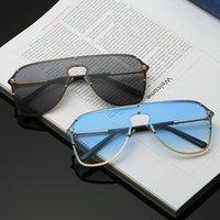 yeni stil lensler toptan satış-Yeni medusa mirrorr mercek VE8802 steampunk tarzı yaz stili kaplama çerçevesiz çerçeve pilotu güneş gözlüğü erkekler marka tasarımcısı güneş gözlüğü