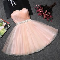 Wholesale white bow back lace dress for sale - Group buy Pearl Pink Mini Sweetheart Tulle Homecoming Dresses With Ribbon Back Lace up Back Sleeveless Crystal Beaded Party Dresses With Bow