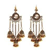 Wholesale indian tribe for sale - Group buy Ethnic Sector Silver Color Long Tassel Bell Dangle Earrings For Women Handmade Rhinestone Tribe Indian Earrings