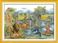 Wholesale paintings animals scenery resale online - Animal World scenery home decor painting Handmade Cross Stitch Embroidery Needlework sets counted print on canvas DMC CT CT