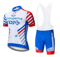 kurzarm winter radfahren trikot großhandel-Heißer verkauf 2019 FDJ team Cycling Kurze Ärmel jersey shortssets Culotte anzug setzt Sommer-Winter-männer im freien Fahrrad Sweatshirt Größe XS-4XL
