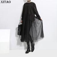 robe d'automne korea achat en gros de-[XITAO] 2018 Corée Automne Hiver Nouvelle Mode Femmes Patchwork Poches Pleine Manches Perspective O-Cou Lâche Mid-Moll Dress Robe XWW2201