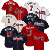 ingrosso baseball atlanta-Atlanta Custom Braves Maglie Ronald Acuna Jr. Austin Riley 27 Ozzie Albies Freddie Freeman Dansby Swanson Chipper Jones 10