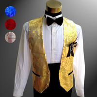Wholesale black chinese costumes resale online - Sequined Groom Vest Navy Blue Groomsmens Best Man Performance Stage Wear Vest Costumes Wedding Prom Dinner Waistcoat Vest Bow Corsage
