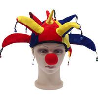 ingrosso campane di pagliaccio-2018 New Funny Unisex Soccer Clown Hat cappello colorato di Halloween Party Hat con piccola Bell Carnival Funny Costume Ball