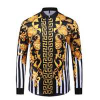 Wholesale rose dog collars for sale - Group buy HOT Autumn winter Harajuku Medusa gold chain Dog Rose print shirts Fashion Retro floral sweater Men long sleeve tops shirts