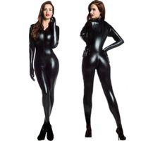 kadın kedi tulum kıyafeti toptan satış-M-XXL Kadınlar 2way Fermuar Faux Deri Catsuit Clubwear Eldiven ile Eldiven Lateks Kedi Kadın Fantezi Seksi Kostüm Tulum Artı Boyutu