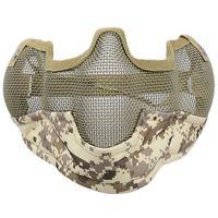металлические напольные маски оптовых-New Helmet Mask Half Face Guardian Metal Steel Net Mesh Camouflage Mask