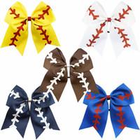 baseball stirnbänder großhandel-10 Farben Softball Baby Stirnband Mädchen Baseball Haarbänder Rugby Bogen-Knoten Schwalbenschwanz Haarbögen Cheerleading Haarschmuck C6425