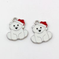 Wholesale bear charms resale online - White Enamel bear Alloy charm Pendants Fashion Jewelry DIY Fit Bracelets Necklace x mm A x mm A