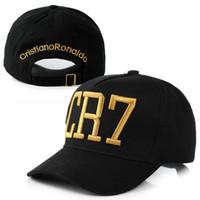 bonés de futebol preto venda por atacado-Atacado- 2016 cristiano ronaldo cr7 preto bonés de beisebol do hip hop esportes snapback chapéu de futebol chapéu de sol ganhos para homens e mulheres